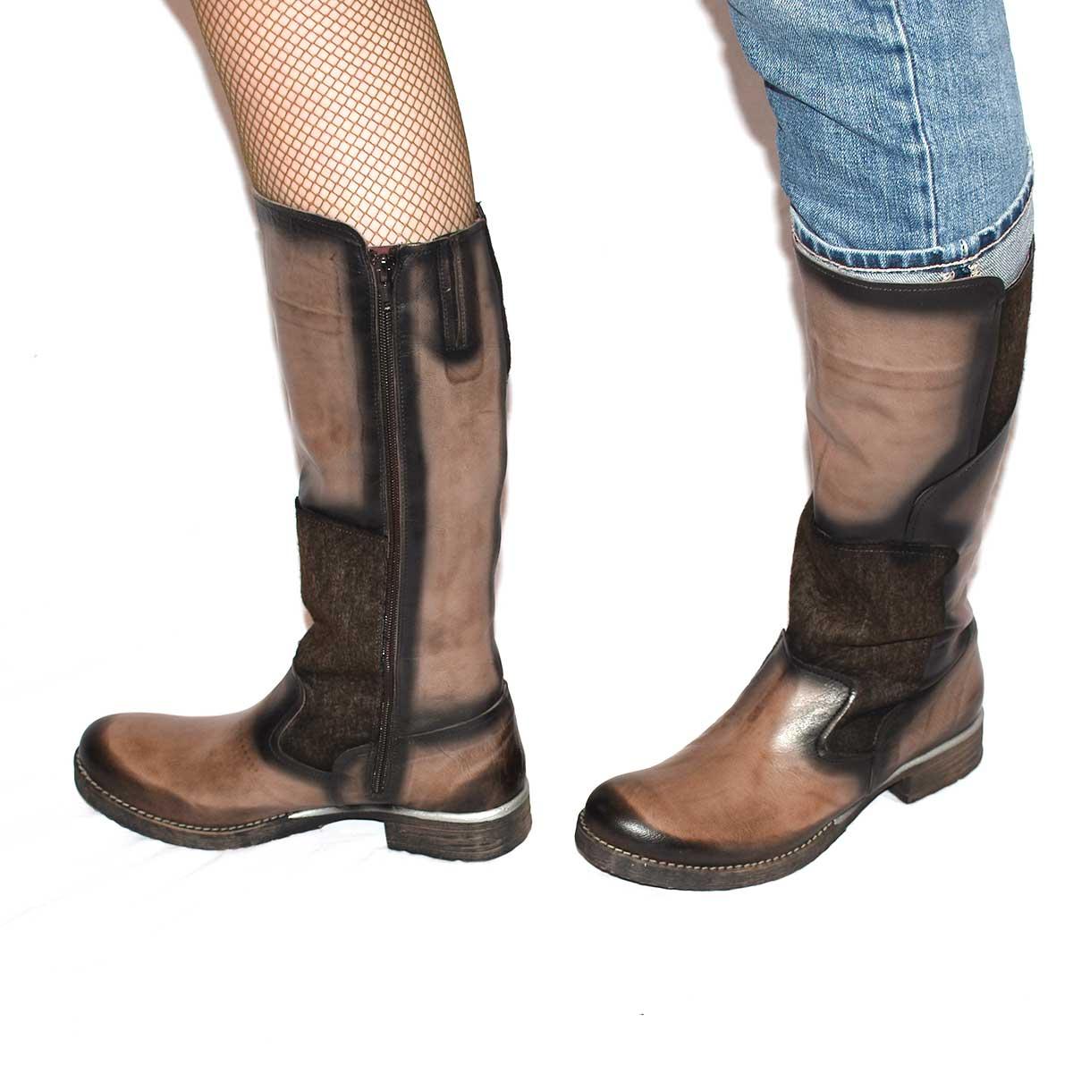 GoGreen Stiefel Boots aus Leder mit Textil kombiniert